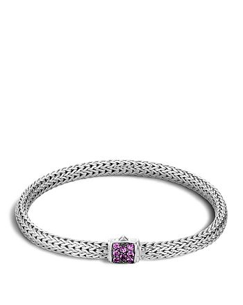 JOHN HARDY - Classic Chain Sterling Silver Lava Extra Small Bracelet with Amethyst