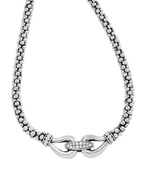 Lagos Derby Sterling Silver Necklace with Diamonds, 16