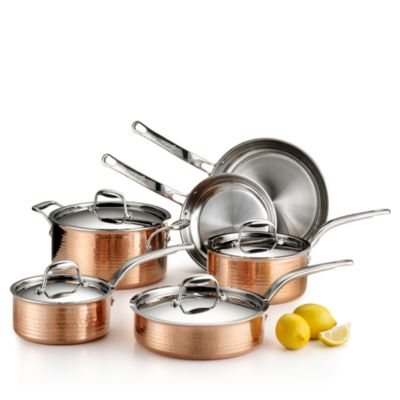 $Lagostina Martellata Tri-Ply Hammered Copper 10-Piece Set - Bloomingdale's