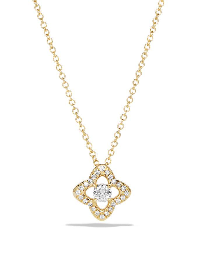 David Yurman Venetian Quatrefoil Necklace with Diamonds in 18K Gold   | Bloomingdale's