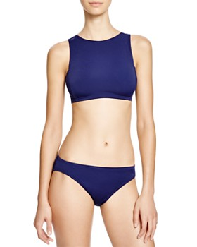 DKNY - Street Cast Solids High Neck Crop Bikini Top