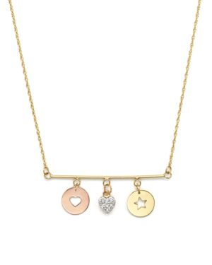 Jane Basch 14K Gold Charm Disc Bar Necklace with Diamond Heart Charm, 16