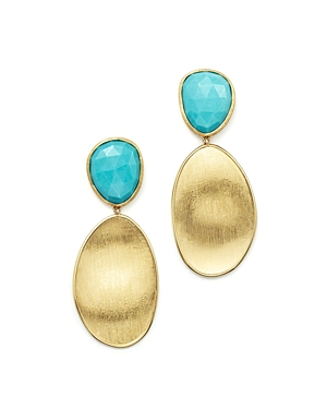 Marco Bicego 18K Yellow Gold Turquoise Two Drop Earrings - 100% Exclusive