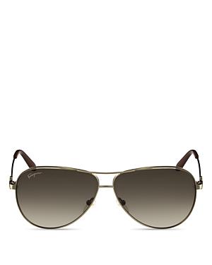 Salvatore Ferragamo Gancini Temple Aviator Sunglasses, 60mm