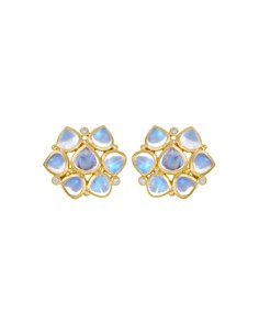 Temple St. Clair 18K Yellow Gold Small Cluster Earrings with Royal Blue Moonstone and Diamonds - Bloomingdale's_0
