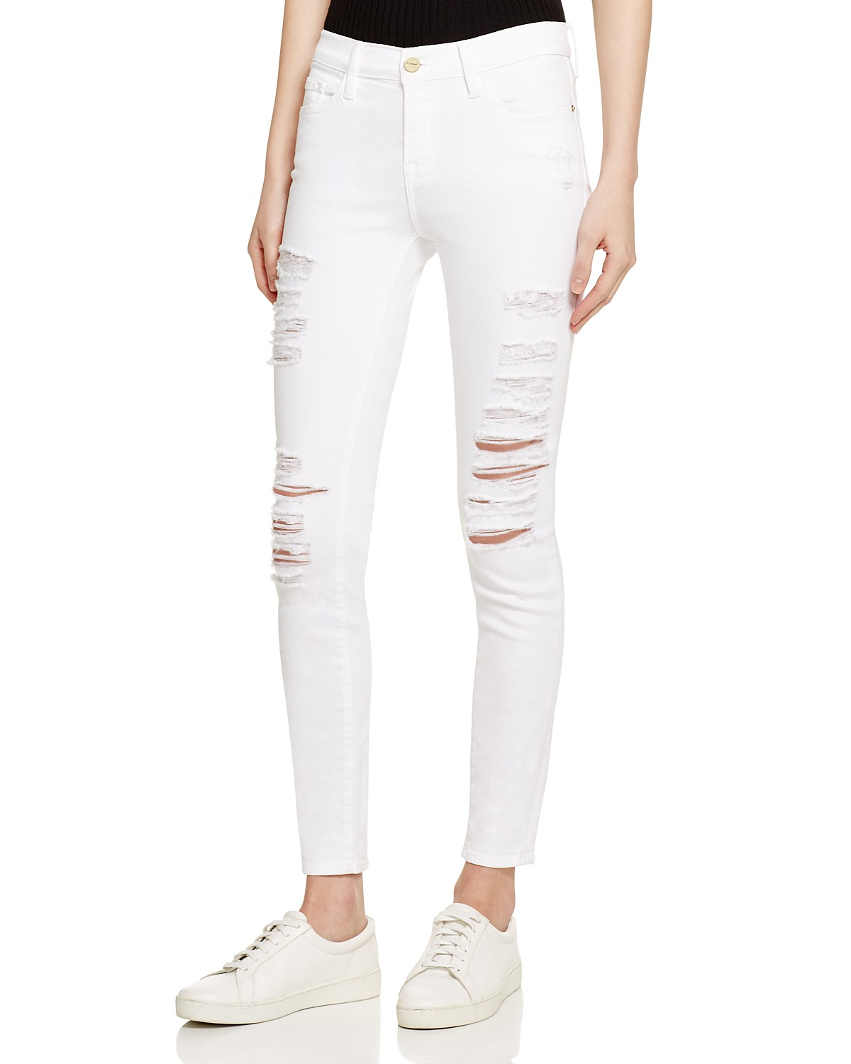 FRAME Le Color Ripped Jeans in Blanc | Bloomingdale\'s
