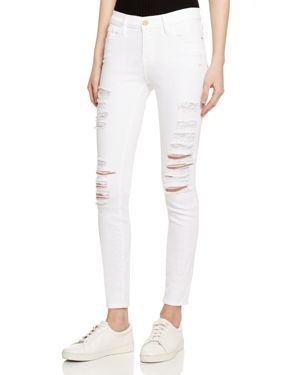 Frame Le Color Ripped Jeans in Blanc