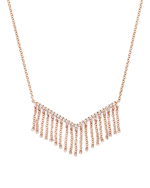 Diamond V Pendant Necklace with Fringe in 14K Rose Gold, .20 ct. t.w. - 100% Exclusive