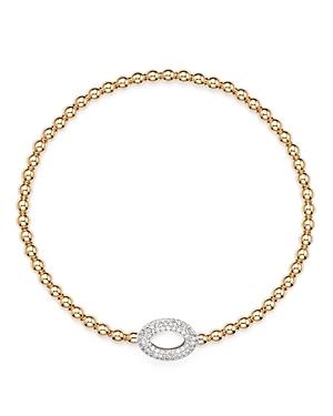 Diamond Oval Bead Bracelet in 14K Rose Gold, .30 ct. t.w. - 100% Exclusive