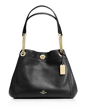 COACH Turnlock Edie Shoulder Bag in Pebble Leather | Bloomingdale's