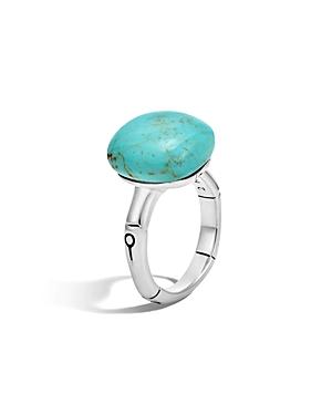 John Hardy Batu Bamboo Silver Ring with Turquoise