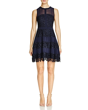 Adelyn Rae Lace Overlay Fit and Flare Dress