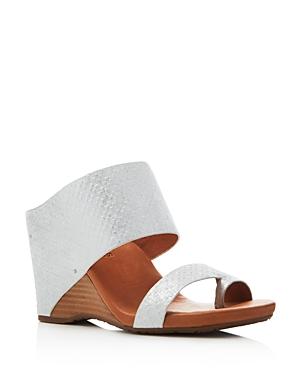 Gentle Souls Ivory Embossed Wedge Sandals