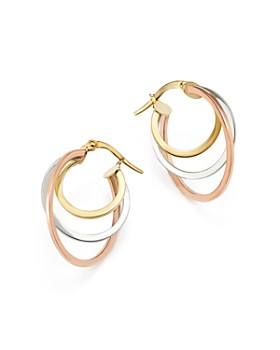 Bloomingdale's - 14K Rose, Yellow and White Gold Triple Hoop Earrings - 100% Exclusive