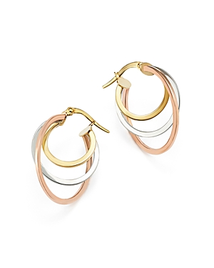 14K Rose, Yellow and White Gold Triple Hoop Earrings - 100% Exclusive