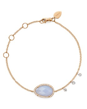 Meira T - 14K Rose and White Gold Chalcedony Bracelet with Diamonds