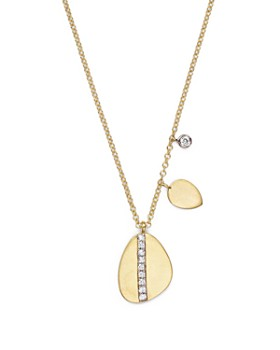 Meira T - 14K Yellow Gold Pear Nugget Necklace with Diamonds, 16""