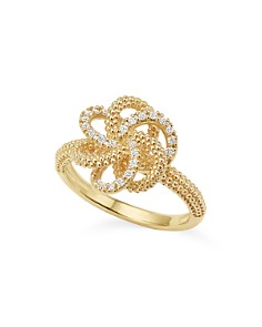LAGOS - 18K Gold Love Knot Ring with Diamonds