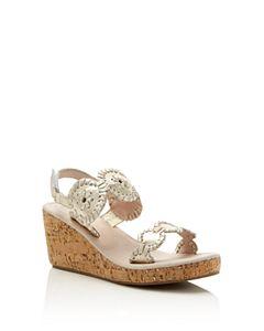b065c4fe964 Jack Rogers Women s Lennon Leather   Cork Wedge Platform Sandals ...