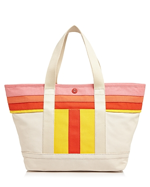 Tory Burch Small Striped T Canvas Tote