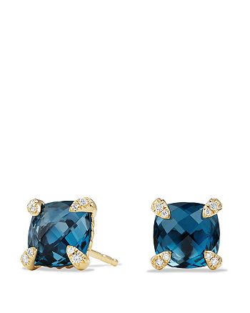 David Yurman - Châtelaine Earrings with Hampton Blue Topaz and Diamonds in 18K Gold