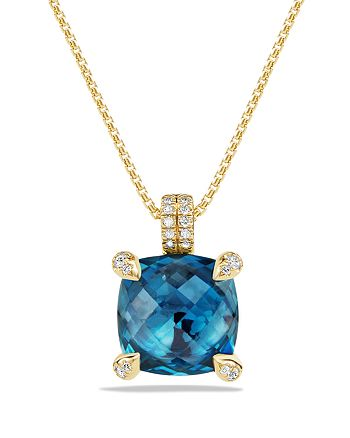 David Yurman - Châtelaine Pendant Necklace with Hampton Blue Topaz and Diamonds in 18K Gold