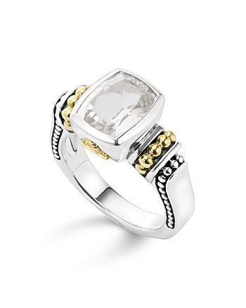 LAGOS - 18K Gold and Sterling Silver Caviar Color Small Ring with White Topaz