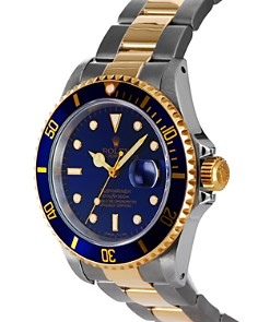 Pre-Owned Rolex - Pre-Owned Rolex Stainless Steel and 18K Yellow Gold Two Tone Submariner Watch with Blue Dial, 40mm