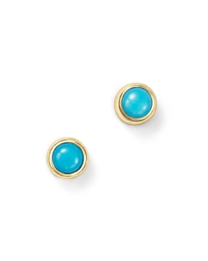 Zoe Chicco 14K Yellow Gold and Bezel Turquoise Stud Earrings-Jewelry & Accessories