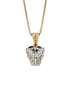 """JOHN HARDY - 18K Gold Legends Macan Small Pendant Necklace with Diamonds and Swiss Blue Topaz, 16"""""""