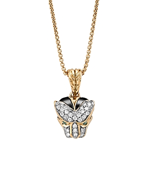John Hardy 18K Gold Legends Macan Small Pendant Necklace with Diamonds and Swiss Blue Topaz, 16