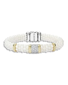 LAGOS - White Caviar Ceramic 18K Gold and Sterling Silver Square Station Bracelet with Diamonds