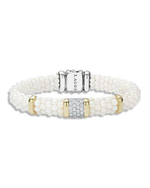 Lagos White Caviar Ceramic 18K Gold and Sterling Silver Square Station Bracelet with Diamonds