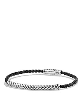 David Yurman - Cable Leather Bracelet in Black