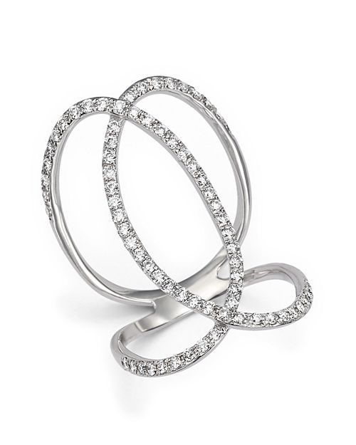 Bloomingdale's - Diamond Crossover Statement Ring in 14K White Gold, .75 ct. t.w. - 100% Exclusive