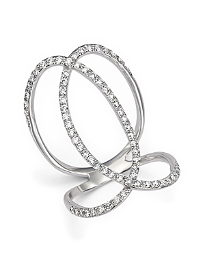 Diamond Crossover Statement Ring in 14K White Gold, .75 ct. t.w. - 100% Exclusive