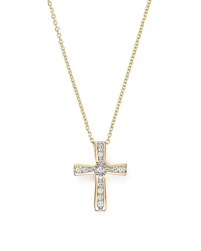 Bloomingdale's - Diamond Cross Pendant Necklace in 14K Yellow Gold, .25 ct. t.w. - 100% Exclusive