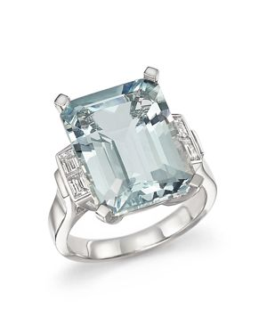 Aquamarine and Diamond Baguette Ring in 14K White Gold - 100% Exclusive