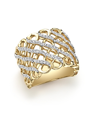 Diamond Multirow Twisted Ring in 14K Yellow Gold, .35 ct. t.w. - 100% Exclusive