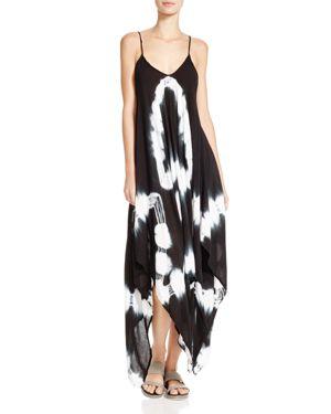 Boho Me Tie Dye Maxi Dress Swim Cover Up In Black Modesens