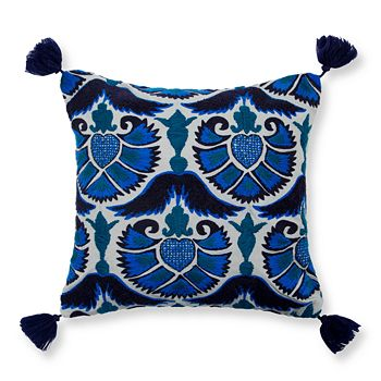 "Madura - Jazzy Peacock Decorative Pillow Cover, 16"" x 16"""