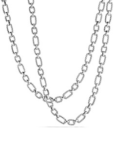 David Yurman - Chain Cushion Link Necklace with Blue Sapphires in Sterling Silver