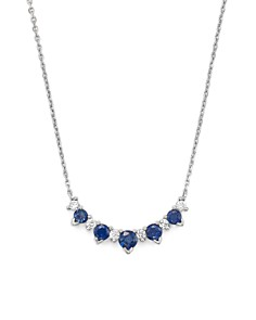 """Bloomingdale's - Diamond and Blue Sapphire 5 Station Pendant Necklace in 14K White Gold, 16""""- 100% Exclusive"""