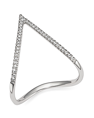 Diamond Pave Chevron Ring in 14K White Gold, .15 ct. t.w. - 100% Exclusive