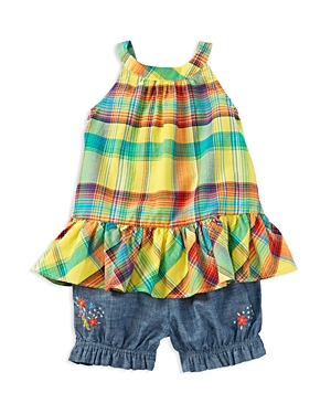 Ralph Lauren Childrenswear Infant Girls' Plaid Ruffle Top and Chambray Shorts Set - Sizes 3-24 Months