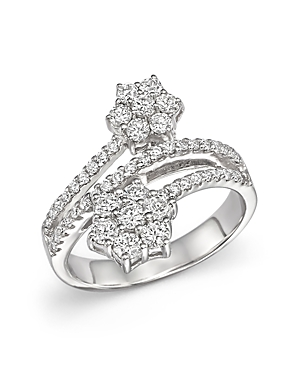 Diamond Flower Bypass Ring in 14K White Gold, 1.10 ct. t.w. - 100% Exclusive