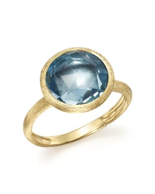 18K Yellow Gold Jaipur Ring With Blue Topaz, Yellow Gold/ Blue Topaz
