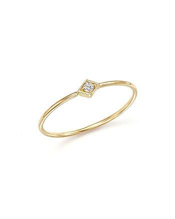 Zoë Chicco - 14K Yellow Gold Diamond-Shape Ring with Diamond