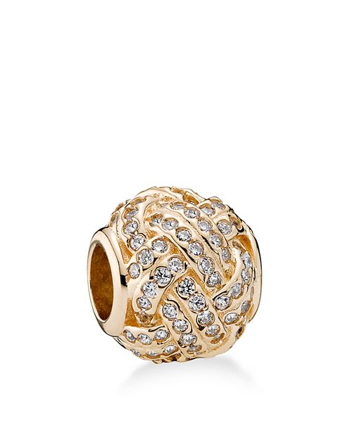 PANDORA - Moments Collection 14K Gold & Cubic Zirconia Sparkling Love Knot Charm