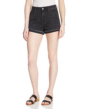 Warp & Weft Rolled Cuff Denim Shorts in Vintage Black